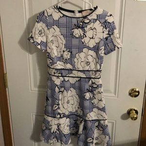 Floral plaid print dress